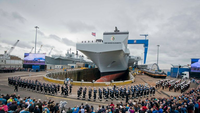 Queen Elizabeth II officially names the Royal Navy's new aircraft carrier HMS Queen Elizabeth