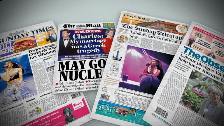 Sunday's national newspaper front pages | UK News | Sky News