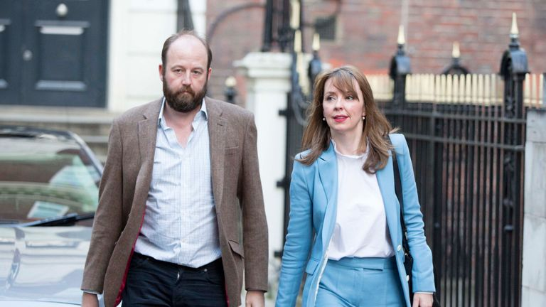 Theresa May's chief of staff Nick Timothy and Joint-chief of staff Fiona Hill leave Conservative Party HQ