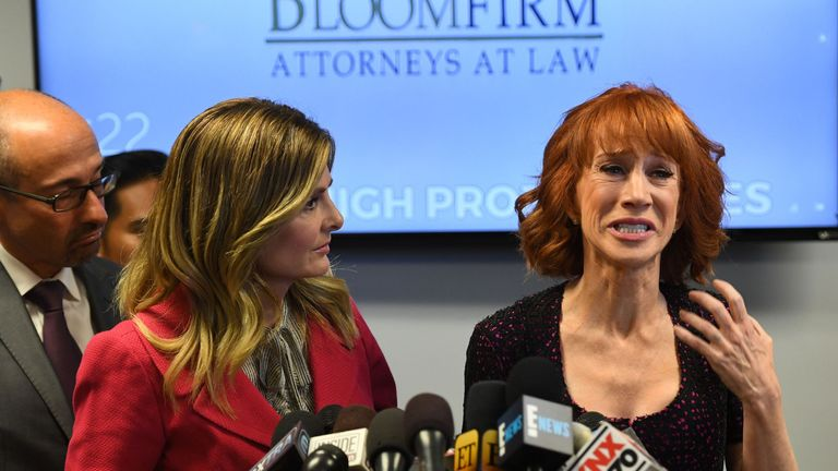 Kathy Griffin (R) during a news conference about the image of a replica of Donald Trump's severed head