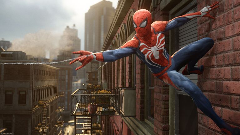 The Spider-Man PS4 gameplay includes parkour and environmental interaction