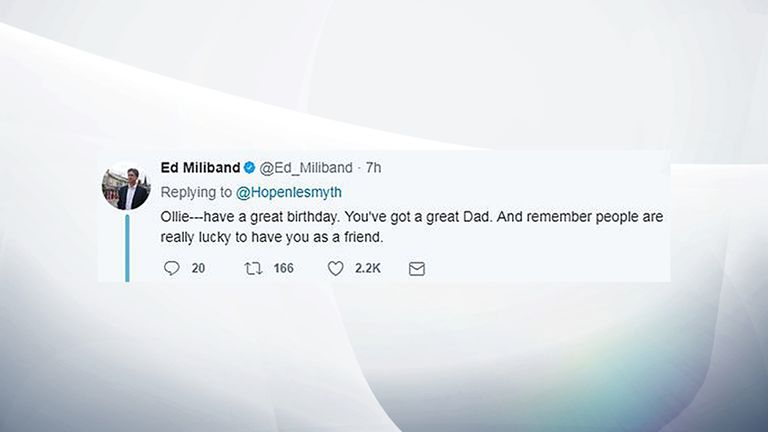 Twitter of @Ed_Miliband of a reply by Ed Miliband to an appeal for birthday messages for Chris Hope-Smith's son Ollie