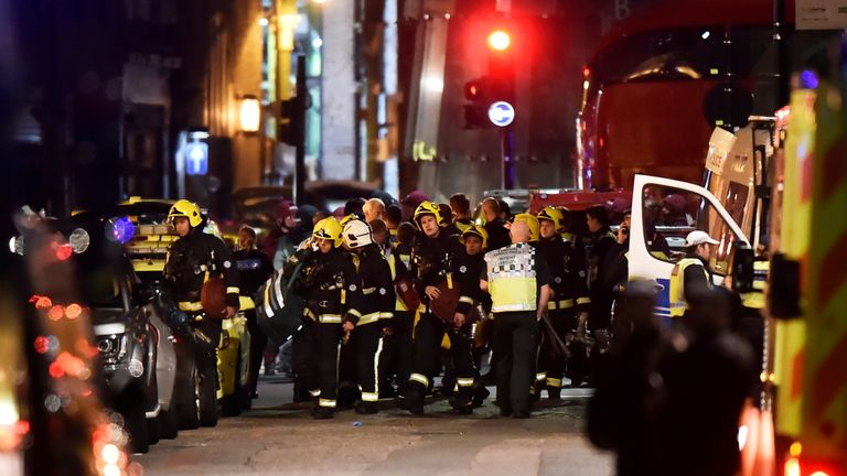 Emergency services attend to an incident near London Bridge in London