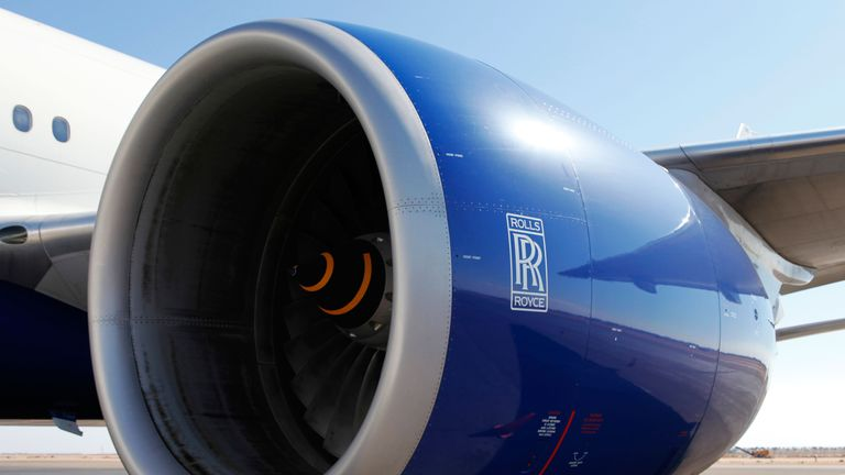 A Rolls Royce engine on a commercial airliner