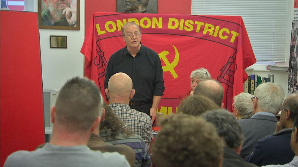 Far-left party meeting