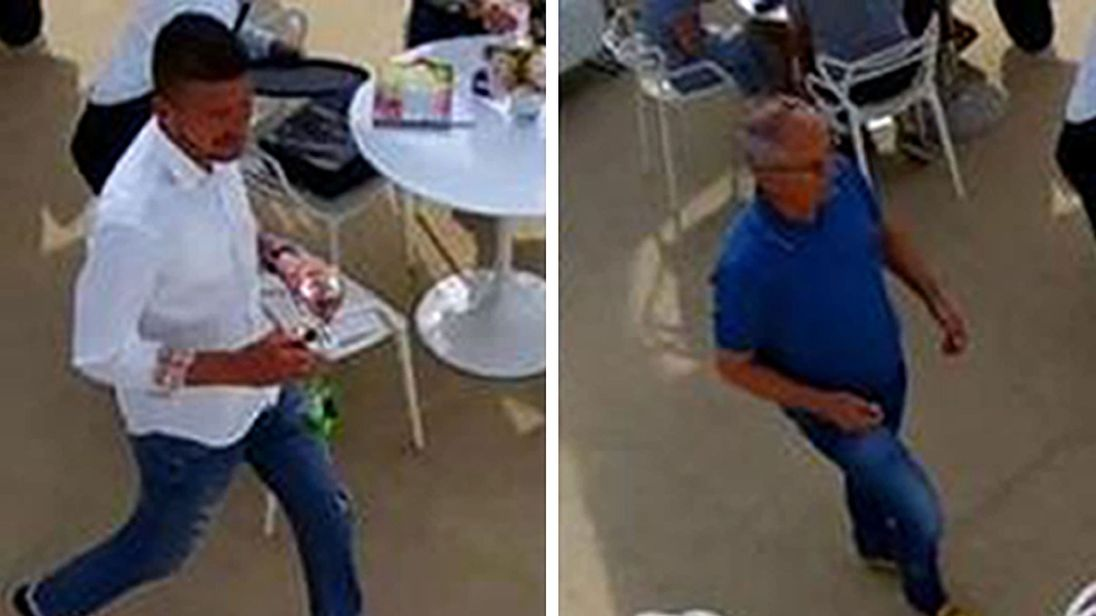 CCTV images of the two men police are hunting after the theft of the rings in Chelsea