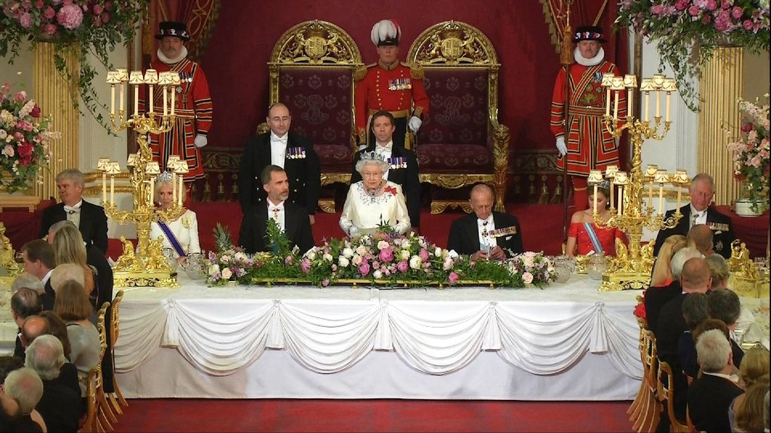 The Queen speaks at a Royal Banquet for Spain's King Felipe