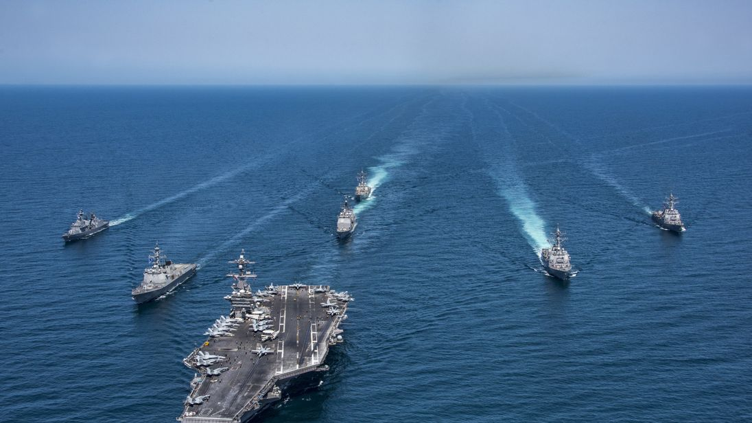 US Navy vessels have been on manoeuvres with South Korean ships in preparation for possible military action