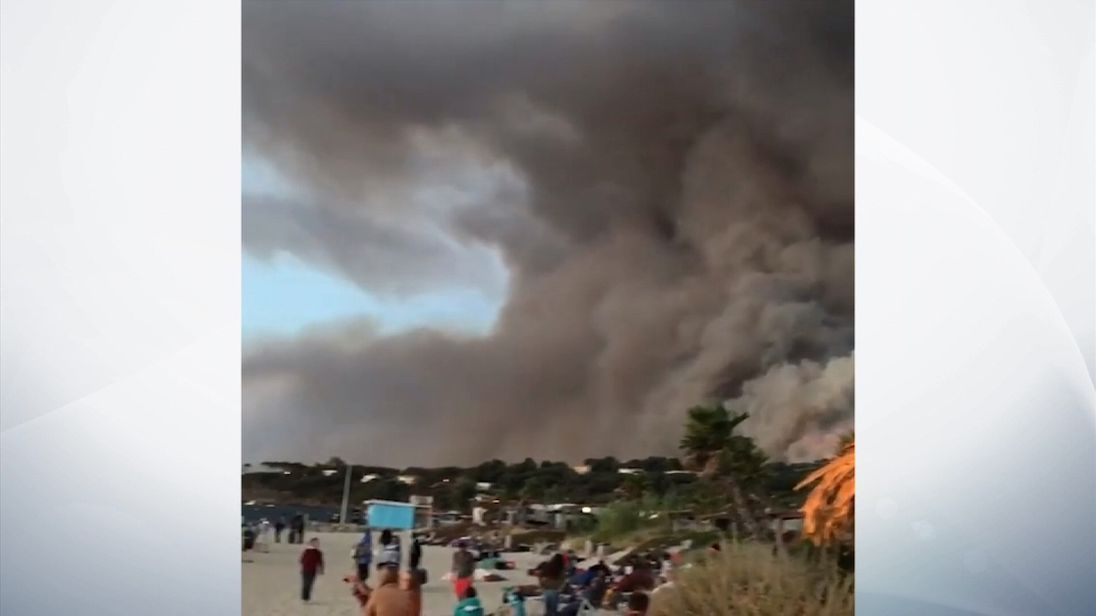 British holidaymakers in southern France have been forced to spend the night on the beach. Pic: Lisa Minot