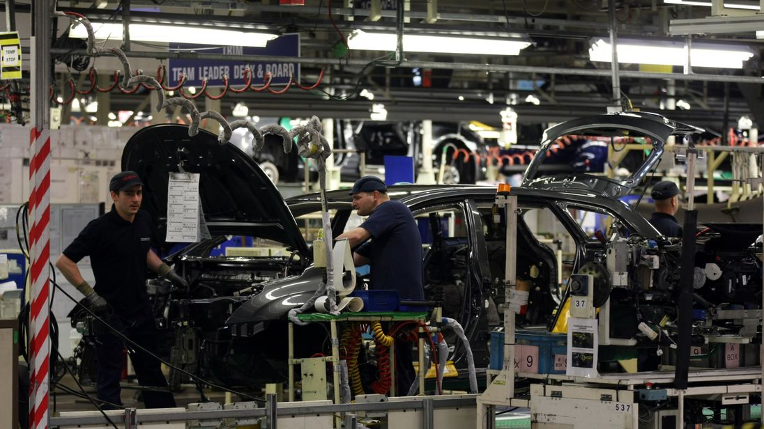 The assembly line at the Toyota factory at Burnaston in Derby