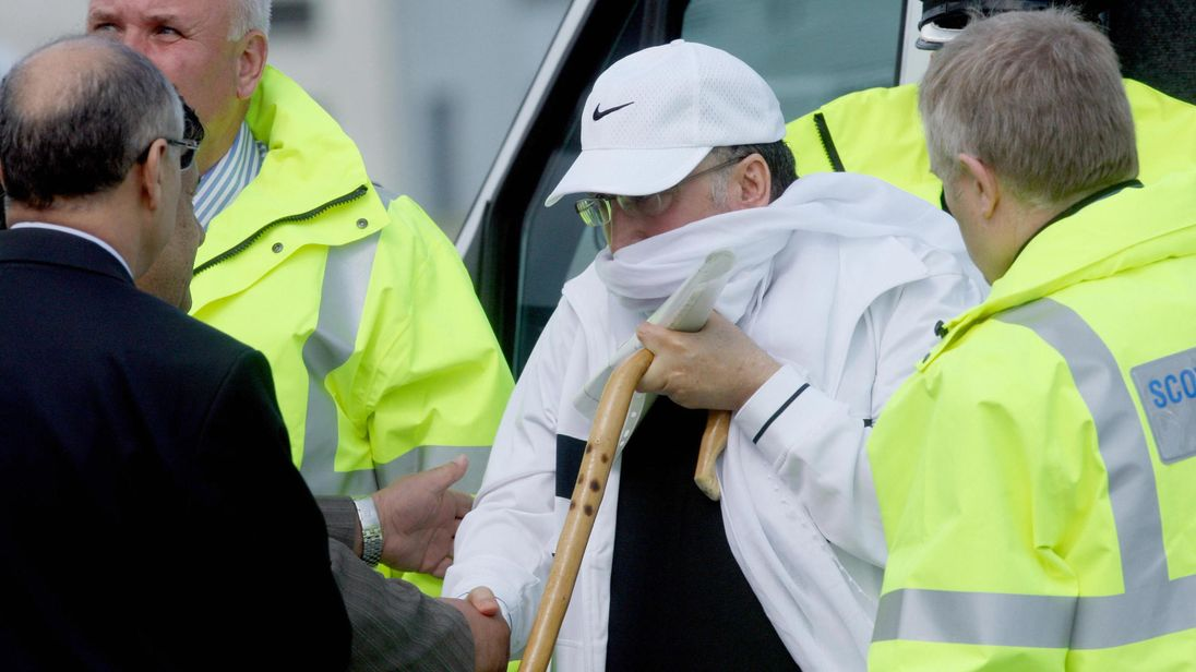 Lockerbie bomber Abdelbaset Ali al-Megrahi arrives at Glasgow airport