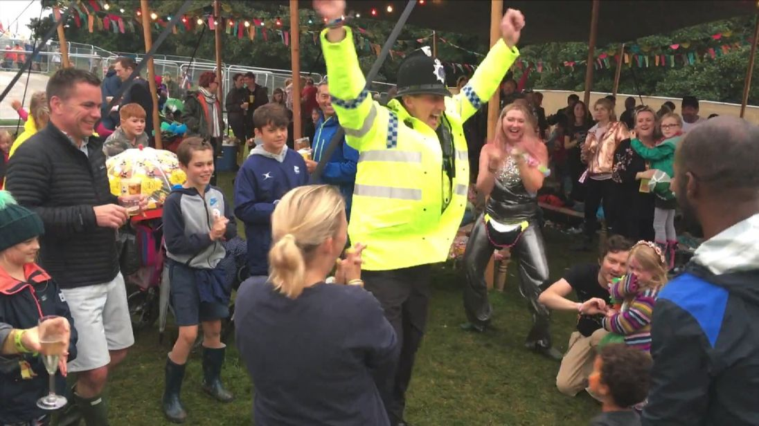 Special constable Jason Cox strutting his stuff at Camp Bestival