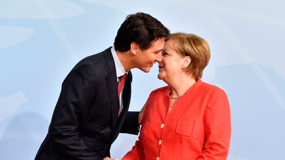 German Chancellor Angela Merkel greets Canada's Prime Minister Justin Trudeau