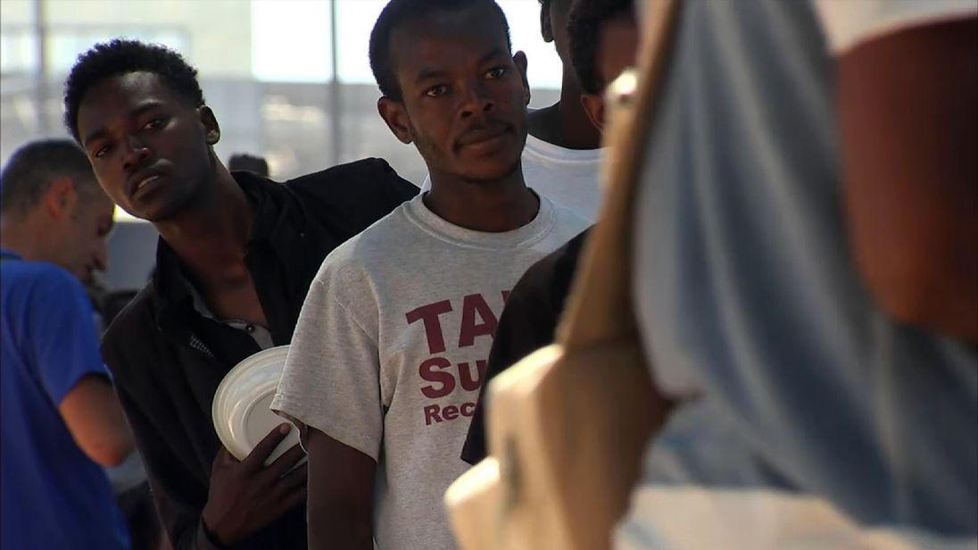 African migrants queue up in Italy
