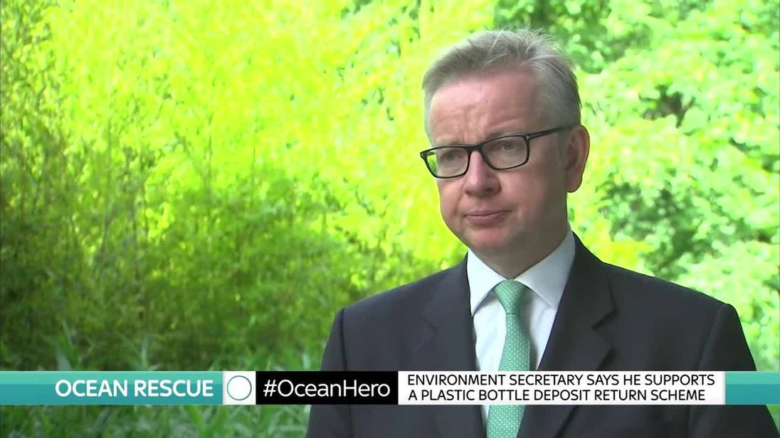 Michael Gove says he supports a plastic bottle deposit scheme