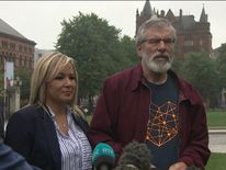 Sinn Fein's Michelle O'Neill and Gerry Adams give an update on power-sharing talks