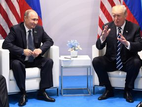 Donald Trump and Vladimir Putin at the G20 Summit in Hamburg