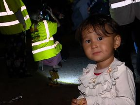 A child migrant just after arriving on Lesbos by boat