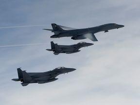 Lancer flies over South Korea