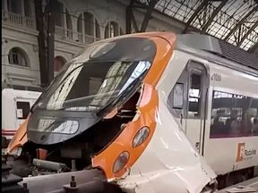 The train crashed into a buffer at a station in Barcelona. Pic: Felix Rios