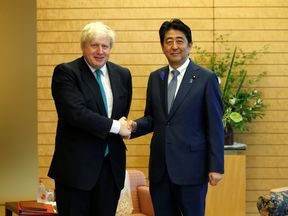 Foreign Secretary Boris Johnson  with Japan's Prime Minister Shinzo Abe
