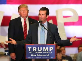 Donald Trump Jr addresses a Trump campaign rally