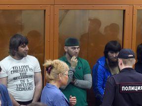 The five convicted men: (L-R) Khamzat Bakhayev, Temirlan Eskerkhanov, Shadid and Anzor Gubashev and Zaur Dadayev