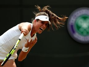 Johanna Konta during her match against Caroline Garcia on day seven of the Wimbledon Championships