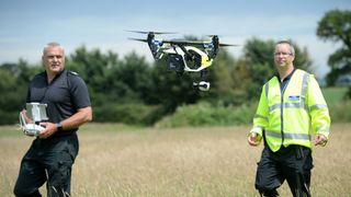 Officers from Devon & Cornwall Police fly a DJI Inspire 1s drone