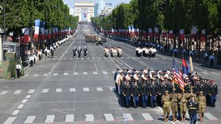 US troops parade during the annual Bastille Day military parade