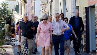 Theresa May and her husband Philip on holiday near Lake Garda in northern Italy