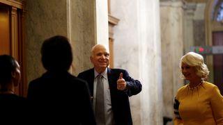 Senator John McCain arrives on Capitol Hill in Washington