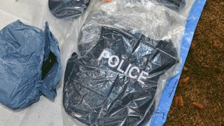 A police vest recovered from a hide in Capanagh Forest, Northern Ireland