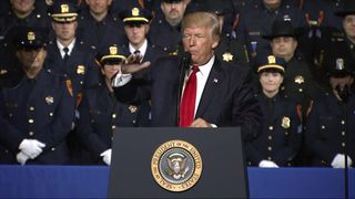 Donald Trump speaking to police chiefs in Long Island