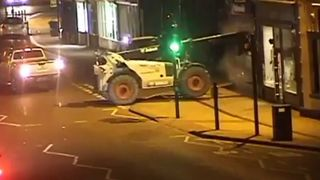 Thieves used a digger to remove the cash machine