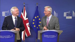 Michel Barnier and David Davis at the start of talks in Brussels