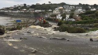 Flood water flows to the sea in Cornwall