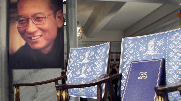 The empty chair with a diploma and Nobel Peace Prize medal that would have been awarded to Xiaobo