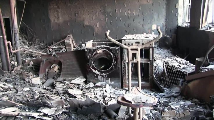 A burned-out flat in the Grenfell Tower