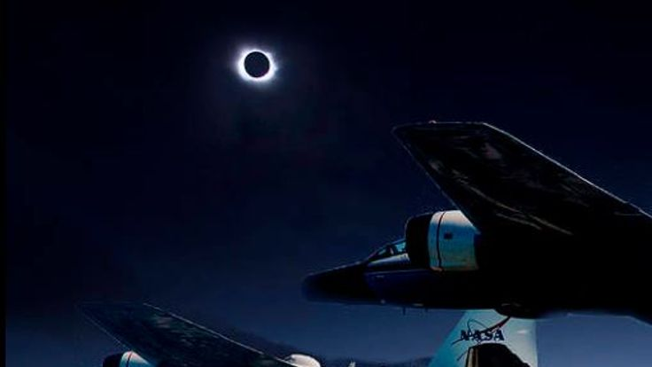 Researchers will 'chase' the eclipse in an aircraft.  Pic: NASA/Faroe Islands/SwR