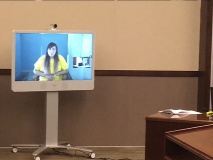 Obdulia Sanchez appears on video link to deny killing her sister in a livestreamed death crash