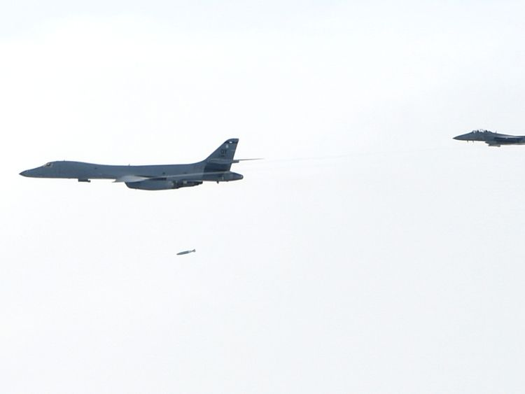 The practice bomb run by US planes has been criticised by Pyongyang