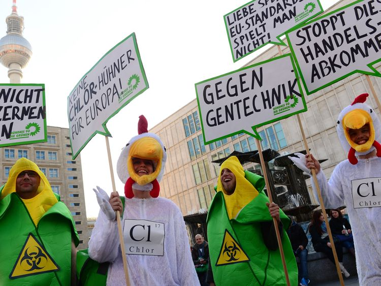 Protest in Germany against chlorinated chicken