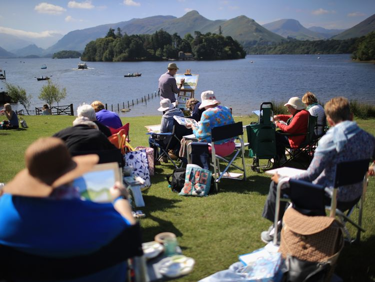 A painting class overlooking Derwent Water