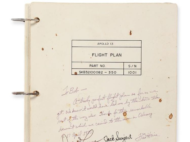 Apollo 11 flight plan sold at auction pic: sotheby's