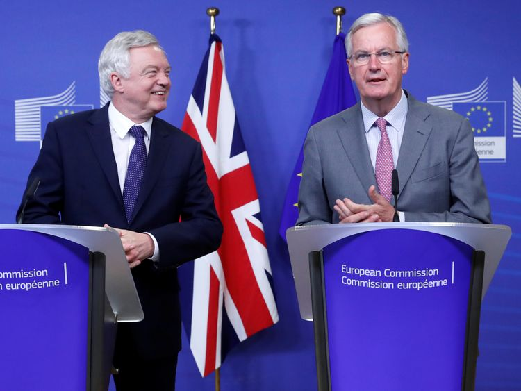 David Davis and Michel Barnier as talks begin in Brussels