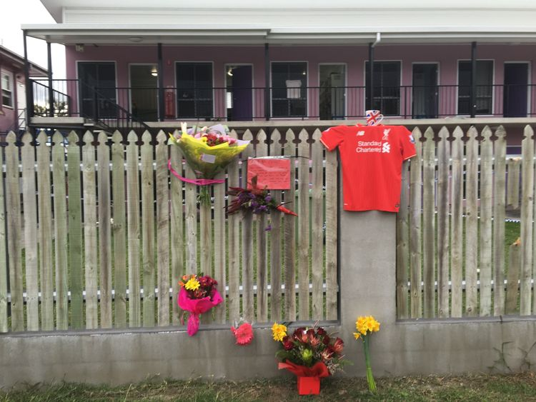 Tributes for Mia outside the hostel where she was killed