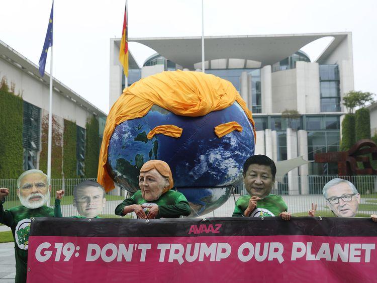 Anti-Trump demonstrators make their point in Berlin ahead of the G20 in Hamburg