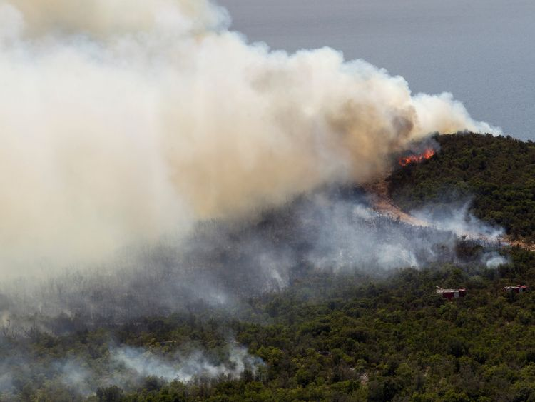 fire at Lustica peninsula near Tivat, Montenegro.