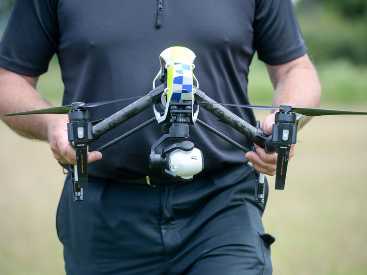 Drones: an officer from Devon & Cornwall Police carries a DJI Inspire 1s drone